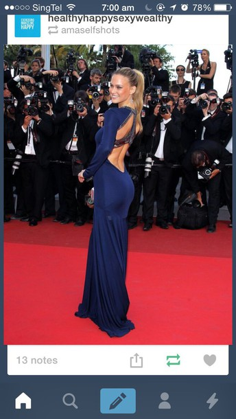 dress prom dress celebrity style blue dress long sleeve dress backless dress backless prom dress red carpet dress