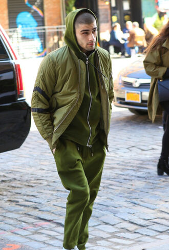 jacket all military green outfit zayn malik singer celebrity style celebrity pants green pants mens pants menswear hoodie green hoodie green jacket army green jacket mens jacket sweater