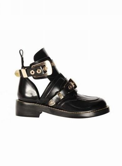 Online store side cutout ankle strap black leather boots