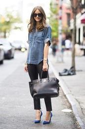 denim,olivia palermo,shirt,bag,blue shirt,black pants,blue heels,handbag,streetstyle,casual,sunglasses,casual outifit,blouse