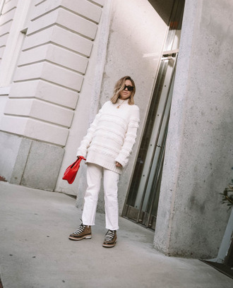 shoes tumblr boots winter boots denim jeans white jeans sweater white sweater all white everything