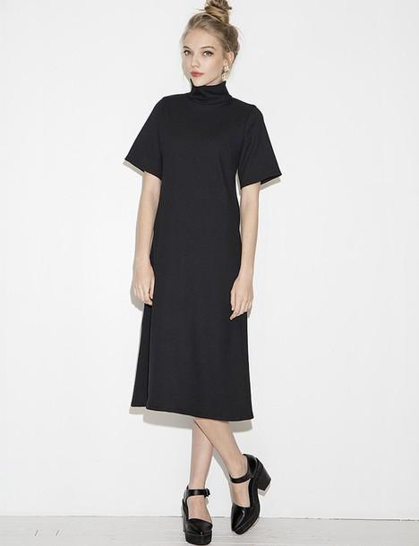 Dress Mock Dress Chic Dress Chic Midi Dress Black Dress Party Dress Korean Fashion