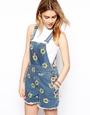 Asos denim sunflower dungaree shorts at asos.com