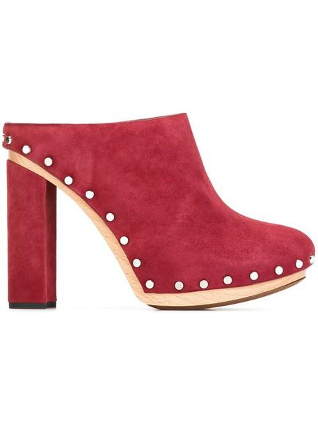 Proenza Schouler clogs heel chunky heel wood women leather suede purple pink shoes