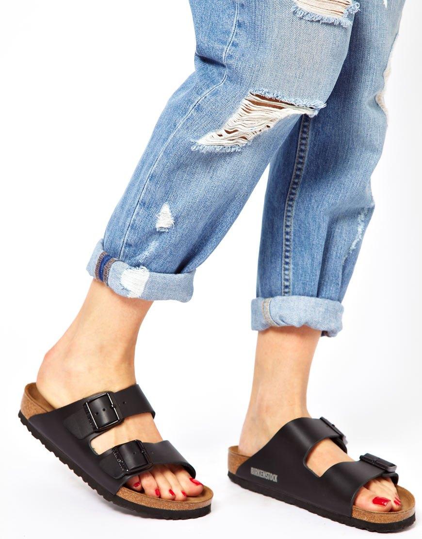 9ea48a0d0c98 Birkenstock Arizona Black Leather Two Strap Narrow Fit Sandals at ...