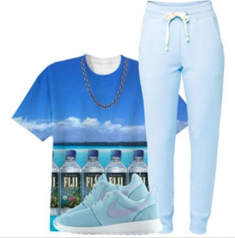 shirt pants nike roshe run fiji shoes sneakers fiji shirt blue shirt blue sweatpants polyvore clothes top style trill dope water drink shirt water shirt roshe runs roshes roshes nike nike shoes fiji water sweatpants sweatpants clouds lounge pants outfit outfit idea