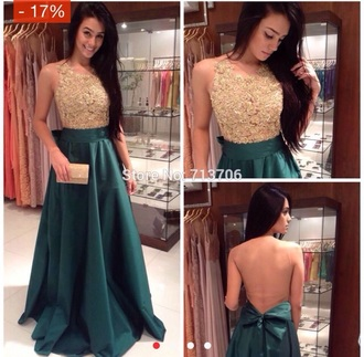 dress green dress gold sequins open back prom dress bow back dress long prom dress