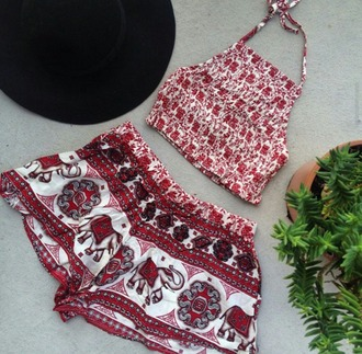 shorts elephant high waisted shorts boho shorts hippy shorts red and white shorts summer outfits bag