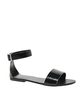 ASOS | ASOS FLOCK Leather Flat Sandals at ASOS