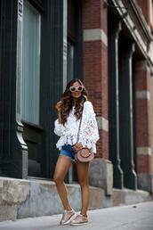 maria vizuete,mia mia mine,blogger,top,shorts,bag,shoes,sunglasses,lace top,shoulder bag,denim shorts,sneakers