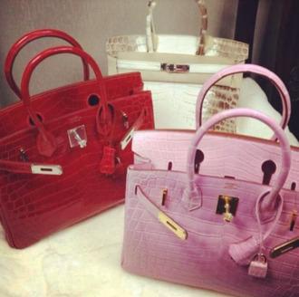 bag birkin red light pink gold purse