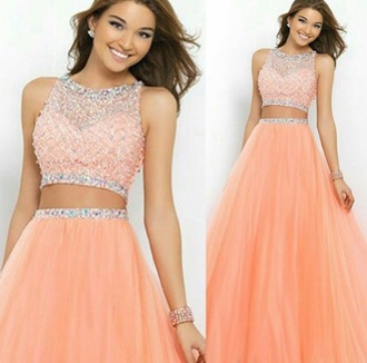 dress peach dress prom dress sparkly dress