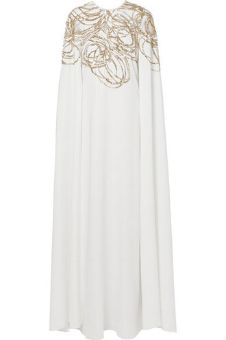 gown embellished white silk off-white dress