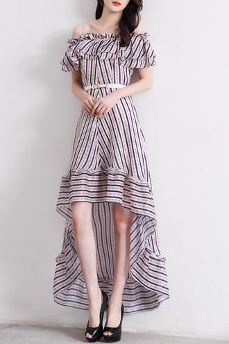 dress cute summer spring asymmetrical off the shoulder stripes dezzal