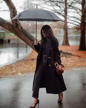 bag,black long coat,high heels,black jeans,leather bag,high neck,black t-shirt,umbrella