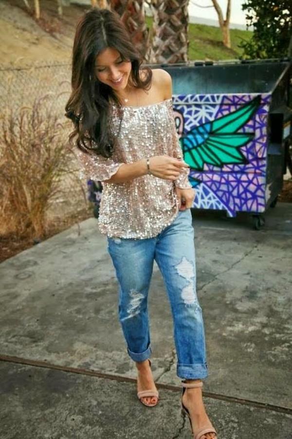 top glittertop blouse glitter blouse glitter shirt ane shoulder shirt occasion glamour glitter shirt gold sequins