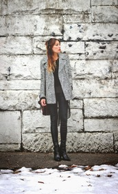 the marcy stop,blogger,coat,sweater,tank top,jeans,bag,shoes