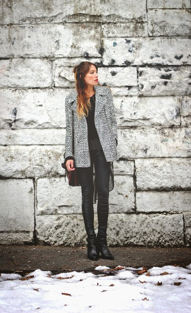 the marcy stop blogger coat sweater tank top jeans bag shoes