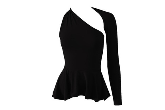 black blouse fashion sexy backless top backless shirt black top one shoulder shirt peplum shirt peplum blouse black peplum top open back backless long sleeve