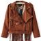 Lapel zipper tassel suede crop jacket