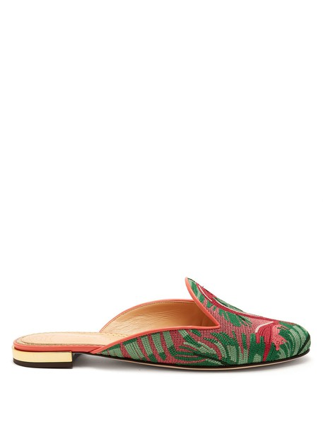 charlotte olympia embroidered flamingo shoes pink