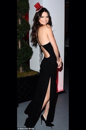 dress,black,little black dress,kendall jenner,black dress,open back,backless dress,side slit,prom dress,strapless dress,tight black dress,maxi dress,gown,celebrity style,birthday dress,kardashians