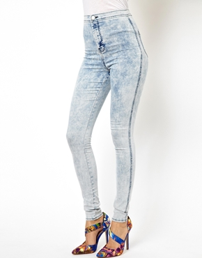 ASOS | ASOS Uber High Waist Denim Jeggings in Bleach Wash at ASOS