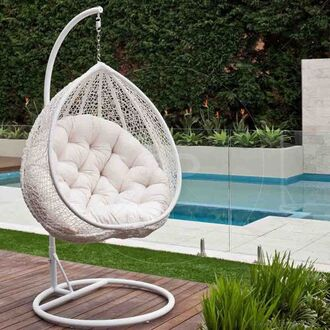 home accessory white hanging egg chair chair cozy pool party