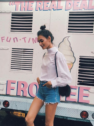 jeans nastygal denim short shorts vintage deadstock high waisted blue denim raw hem fashion style blogger trendy summer