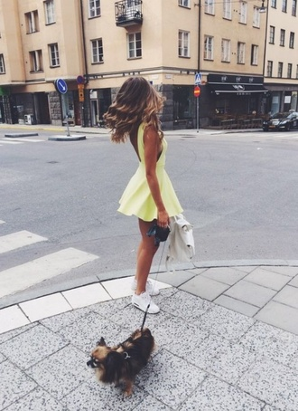 green dress mint dress yellow dress neon pastel shoes