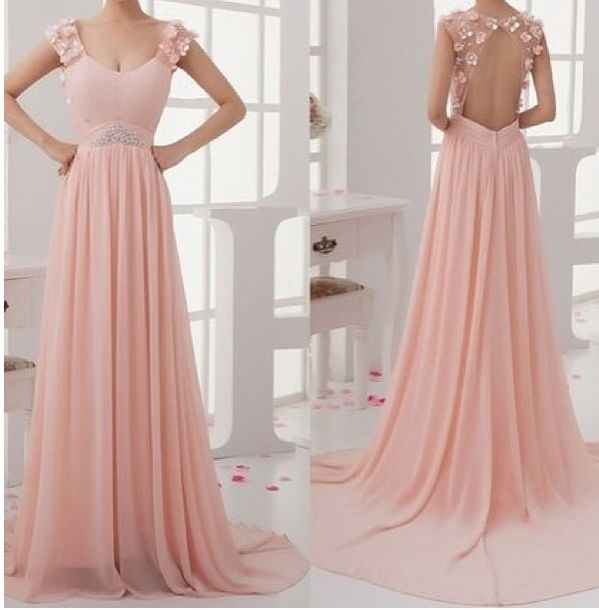 dress, flowers on back, backless dress, peach dress, long gown, prom ...