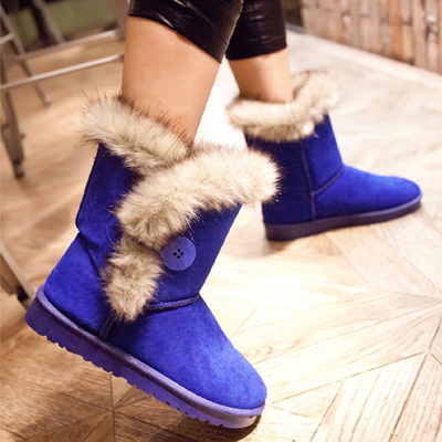 New Arrival Chic Fur Round Toe Flat Heel Snow Boots: BagsQ.com