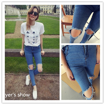 New 2014 Fashion Women High Waist Ultra Skinny Pants Vintage Full Length Pencil Hole Jeans Busted Knees In Blue Free Shipping-in Jeans from Apparel & Accessories on Aliexpress.com | Alibaba Group