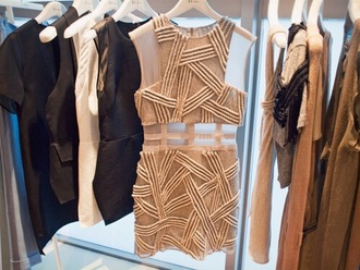 dress nude beige mesh mini sheer cut out prom