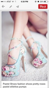 shoes,floral,cute,pinterest,aqua with pink flowe pattern,high heels,floral print shoes,floral high heels,baby blue,blue shoes,floral shoes,heels,flowers,strappy,straps,floral pump