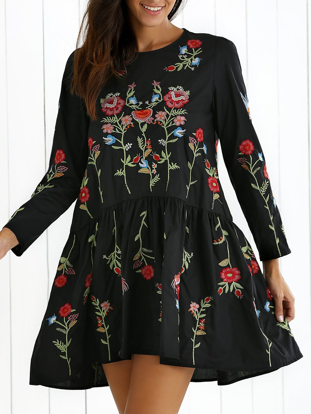 Zaful Floral Embroidered Drop Waist Dress in black