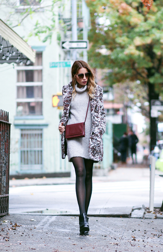 the marcy stop blogger sweater dress coat tights bag sunglasses shoes opaque tights
