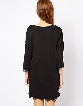 French Connection | French Connection Kelby Sweat Dress with Lace Trim at ASOS