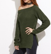 sweater,girl,girly,girly wishlist,olive green,khaki,slit,knit,knitwear,off the shoulder,off the shoulder sweater,knitted sweater,fall sweater,fall colors