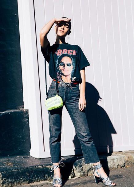 t-shirt tumblr black t-shirt graphic tee denim jeans blue jeans cropped jeans sandals sandal heels bag neon Silver sandals outfit idea gucci belt logo belt logo tee