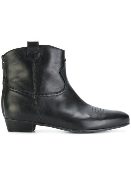 women ankle boots leather black shoes