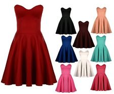 Womens Ladies Party Boobtube Strapless Skater Prom Dress UK 8-14