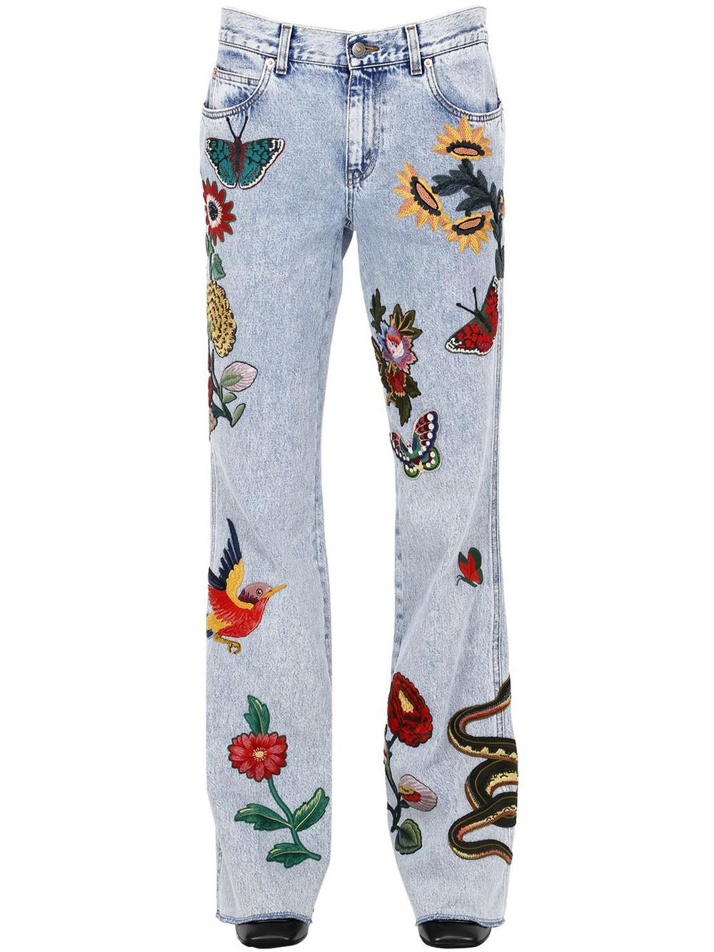 Гуччи джинсы с вышивкой 72