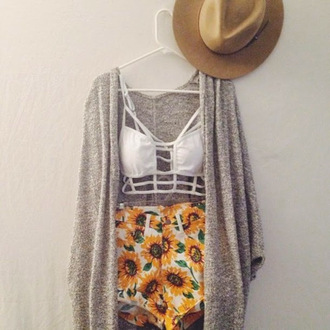 top bikini white bikini top bikini top grey sweater kimono sweater gray white high waisted shorts denim high waisted shorts denim denim shorts shorts floppy hat hat sun hat necklace sandals straw floppy hat straw hat cardigan