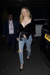 blouse,top,bustier,ellie goulding,jeans,pumps