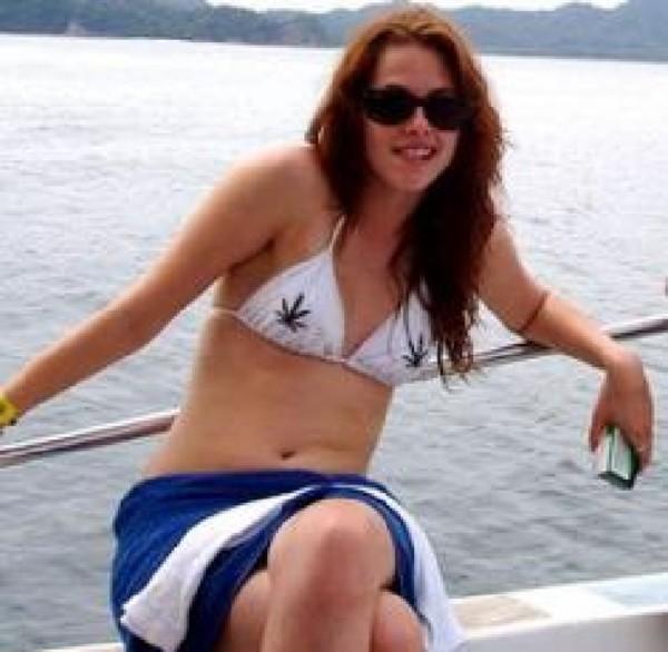 swimwear kristen stewart weed rasta bikini white beach