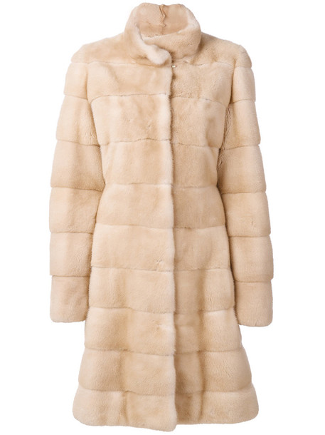 Liska coat fur women nude silk