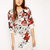 White Half Sleeve Floral Print Dress - Sheinside.com