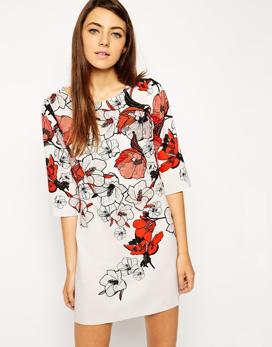 White Half Sleeve Floral Print Dress - Sheinside.com