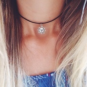 jewels,necklace,sun,choker necklace,blonde hair,moon,leather,silver,sun necklace,black,cute,small,black choker,silver necklace,black neckalce,summer,tumblr,tumblr outfit,grunge,silver jewelry,jewelry